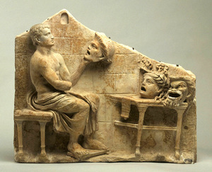 Menander at his studio with the New comedy masks, 1st century BC - 1 Century AD. Princeton University Art Museum, United States.