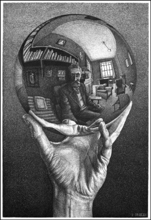 "Maurits Escher ""Self-portrait in the Globe"", 1935. Illustration from http://www.retronaut.com"