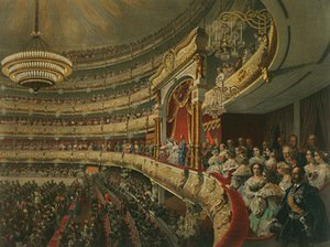 "Mihály Zichy. ""Show at Great Theatre"", 1856, ""Alexander II. Coronation Book of 1856"""