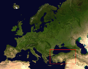 Anatolia (framed by a red rectangle) and Europe. Image from Vikiteka.