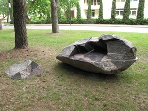"""Open"", 2013. Granite, 250 × 140 × 80 cm. Exhibition in Birštonas, 2014."