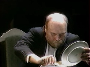 "Valdas Bagdonas – Tuzenbach in the performance ""Three Sisters"". Photo from the video recording."