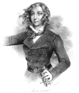 "Drawing of Achil Deveria, lithograph of Fransua de Villain ""Emilija Pliaterytė"", Literature Museum, Warsaw, Poland."