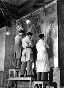 The restoration of Hagia Sophia mosaics, 1931, Istanbul, Turkey.