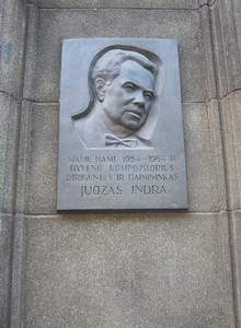 Memorial plaque for the composer, conductor and singer Juozas Indra