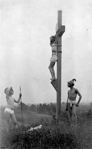 "F. Holland Day, ""Crucifixion"" (two Roman soldiers with profiles to the left), 1898, platinum plate."