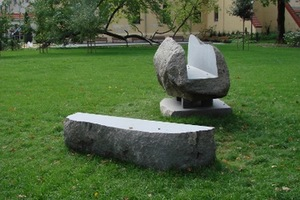 """Bed of Procrustes"", 2014. Granite, 250 × 130 × 95. Bernardine Garden, Vilnius, 2014."