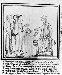 Edward the Confessor heals the sick with his touch, 13th century, Cambridge University Library, United Kingdom.