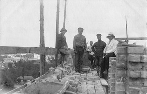 Architect-engineer Feliksas Vizbaras, during the construction of his house.