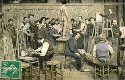 National School of Fine Arts painting studio. Late 19th century. Postcard