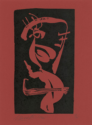 "A. Vaičaitis. Pagan Dance, 1965. From the album ""A. Vaičaitis. Linoprints."" Paper, linocut, 22,2x12,8 Scanned by Edgaras Austinskas."
