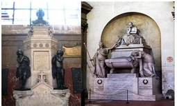 From the left: Tomb of Abbot Charles–Michel de l'Épée, L'église Saint–Roch, Paris, France; cenotaph of the poet Dante Alighieri, 1830, St. Cross Church, Florence, Italy. Photos by the author