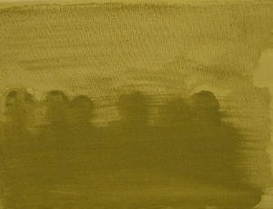 """Not Alone"" (from left to right: Marta, me, Jonė, Agnė, Lina and Edita) (2012 08 28 (day 52)) (linen, oil, 18 x 24 cm, 2014)"