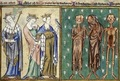"""A Story about Three Dead and Three Alive Persons"". Psalm Book of Roberto from Lille, 1310, France."