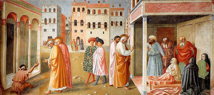 Masaccio. Healing of the Cripple and Raising of Tabitha, 1425, Brancacci Chapel, Florence, Italy.