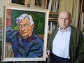 Artist Eugenijus Survila beside portrait of actor Algimantas Masiulis, 1994