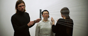 "Židrija Janušaitė. Performance ""Solitudes. Touches"", 90 min, 2015, gallery Meno parkas. Along with Rosanda Sorakaitė and Laurynas Leonaitis."