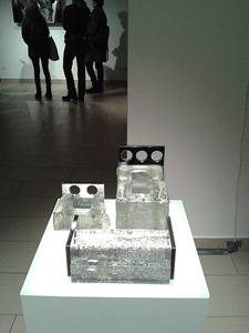 The fragment of the exhibition. In the foreground - Artūras Kuršentaitis creative work Protection