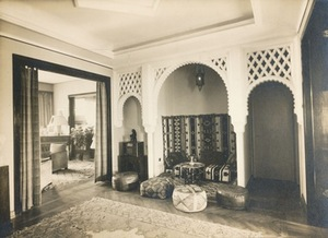 The synthesis of East and West in the interwar period residential interior. The place for relaxation at the lounge of Aleksandra Iljinienė flat, 1934, Kaunas. Photo from KVB RS.