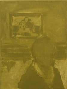 """Selfie with a Famous Painting"" (2012 09 26 (5 days to leaving)) (linen, oil, 18 x 24 cm, 2014)"