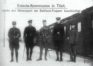 The Entente commision in Tilsit. From right to left: Japanese colonel Takeda, USA brigade general Sidney Albert Chaney, French general Henri Albert Niessel, British brigade general A. J. Turner and Italian brigade general Giovanni Marietti in 1919