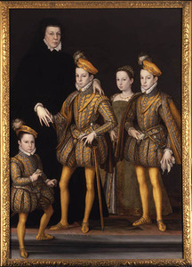 Catherine de Medici with children. From the left: Charles IX, Margaret (Margo), Henry, Duke of Anjou, Francis, Duke of Alenson 1564. (original destroyed in 1940).