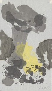 A. Vaičaitis. Abstraction. Japanese paper, monotype, watercolor, 46x26. Scanned by Edgaras Austinskas.