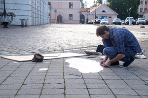 T. Buric's installation The Sign After at the Kaunas Town Hall Square. Milda Gineikaitė's photo