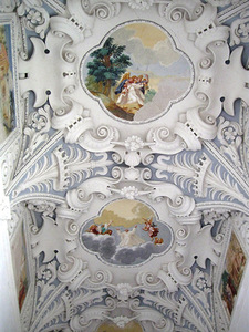Northern corridor vault, Pažaislis. Frescoes depict the life of the blessed Bogumil. Author's photo.