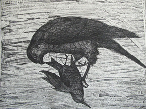 "Roland Rimkūnas. ""What is going on within us, is also a part of the universe"", 2005, etching, 58 x 72 cm. author's photograph"