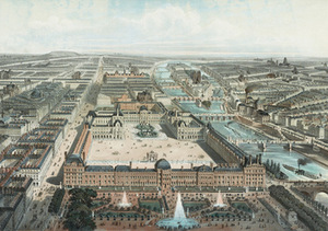 Charles Fichot. Tuileries and the Louvre palace complex, 1850, Congress Library, USA.